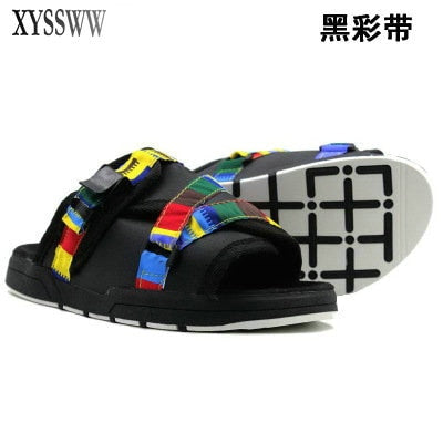 23 color Fashion Fringe Men Canvas Slippers Male Summer shoes Slides Slip-resistant beach slippers Flip Flops sandals 36-45