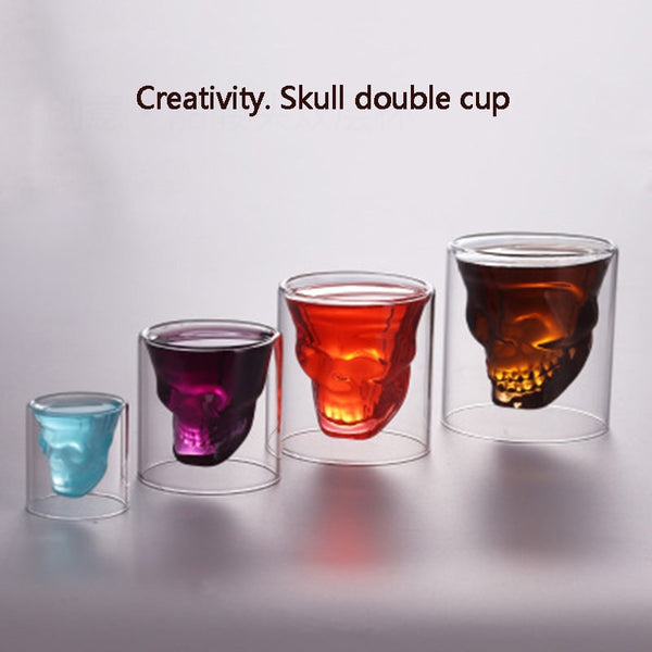 25-250ml Double glass cup Transparent skull wine milk whisky tea coffee water mug drinks glass reusable Tool bar accessories