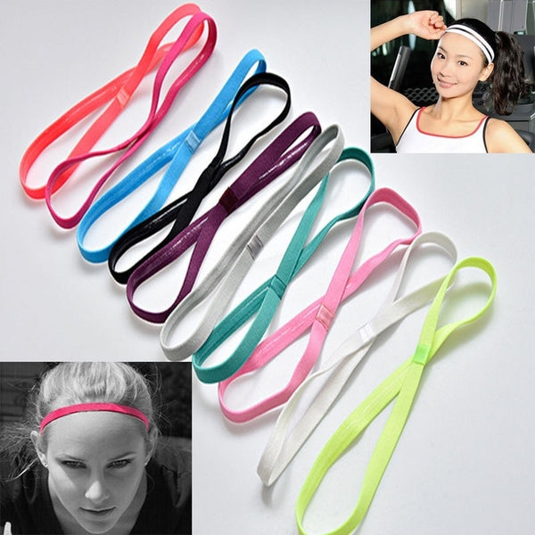 2Pcs Sports Stretch Yoga Hairband Headband Women Men Elastic Band Hair Rope Hair Accessories Solid Color