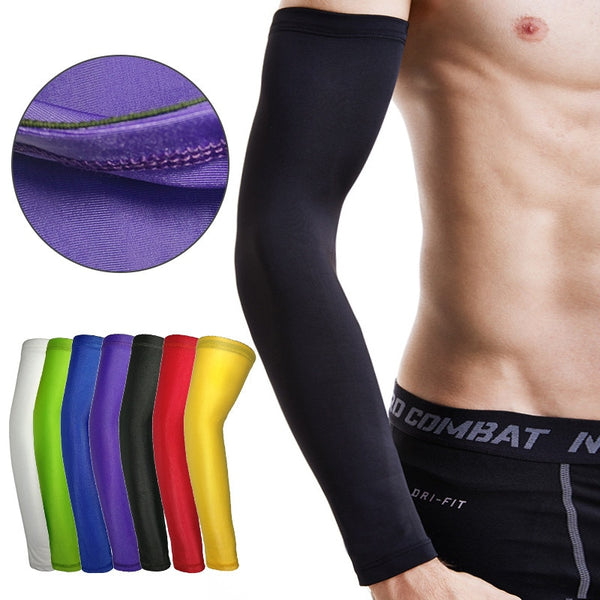 2pc Outdoor Lengthen Arm Sleeves Basketball Compression Cycling Arm Bracer Warmers Breathable riding Armguards Men Sports Safety