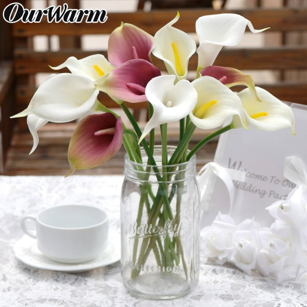 2pcs DIY Artificial Fake Flower Calla Real Touch Flowers Bouquet Wreath Garland Banquet Home Wedding Party Table Decoration