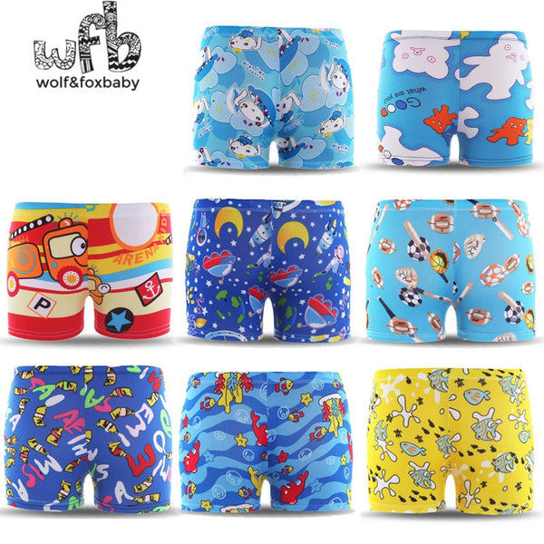 3-6years free size Diving wear  Cartoon printed  toddler Kid Child Boys swimming trunks swimsuit beach swimwear shorts summer