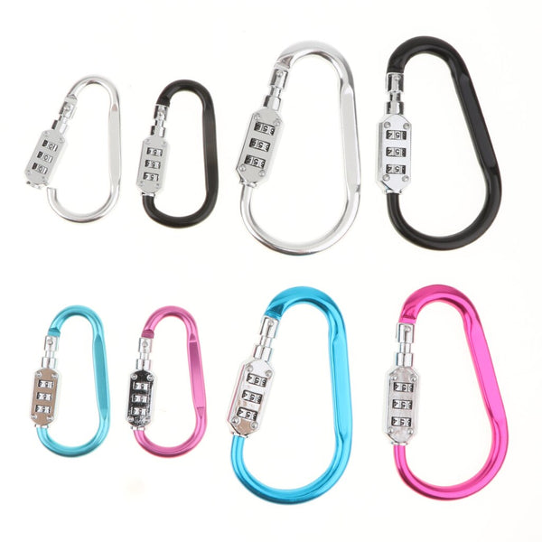 3 Digit PIN Device Buckle Lock Carabiners for Beach Bags Camping Travel Luggage Sports Gear