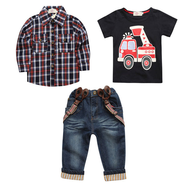 3 PCS Suits Kids Boys Clothes Sets Cotton Child Plaid Shirt+Car T-shirt+Jeans Spring Autumn Children Boys Sets Children Clothing
