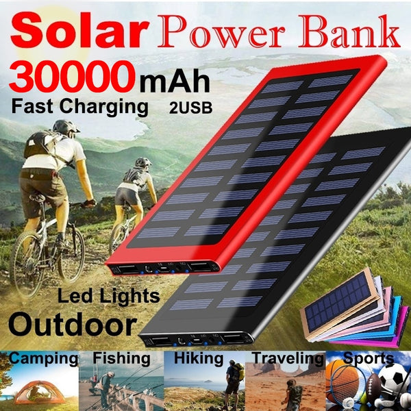 30000mAh Ultra-high Capacity Solar Power Bank Portable Charger High-Speed Charging External Battery Packs with Led Flashlight
