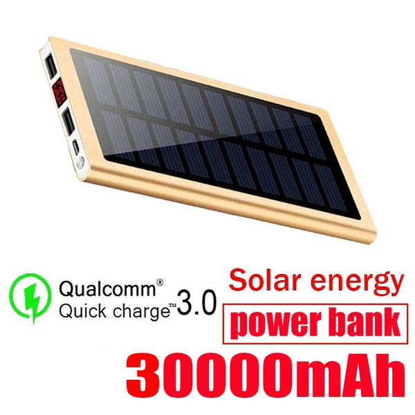 30000mah Solar Power Bank External Battery 2 USB LED Portable Powerbank Mobile Phone Solar Charger for Iphone Huawei Xiaomi
