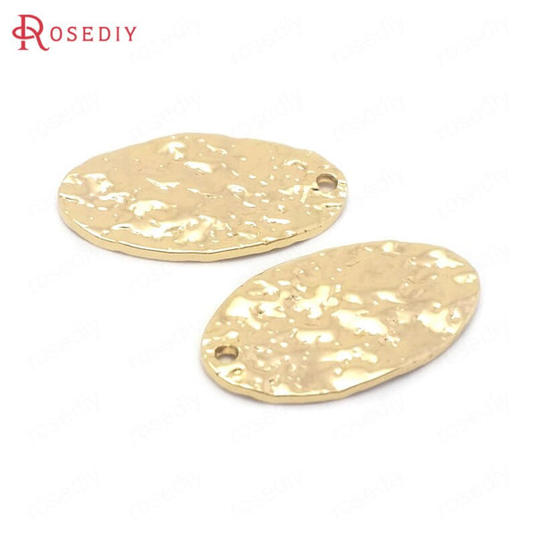 (38485)10PCS 10x19MM 24K Gold Color Brass Oval Shape Charms Pendants High Quality Jewelry Making Supplies Findings Accessories