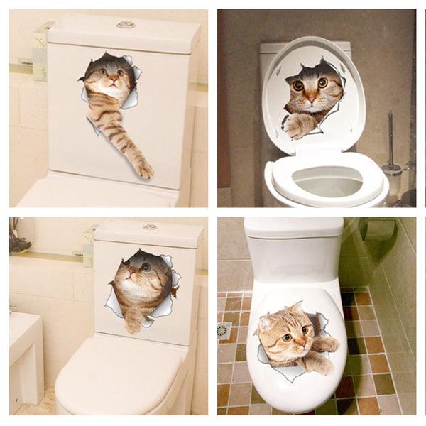 3D Cats Wall Sticker Toilet Stickers Hole View Vivid Dogs Bathroom Room Decoration Animal PVC Decals Art Sticker Wall Poster
