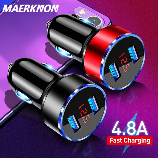 4.8A USB Phone Charger LED Display Car-Charger for Xiaomi Samsung Mobile Phone Adapter Car Charger For iPhone 12 11 Pro 7 8 Plus