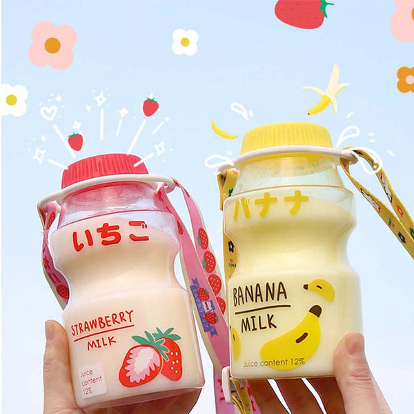 480ml Plastic Water Bottle Tour Drinking Bottle Yakult Shape Cute Kawaii Milk Carton Shaker Bottle for Kids/Girl/Adult Glass
