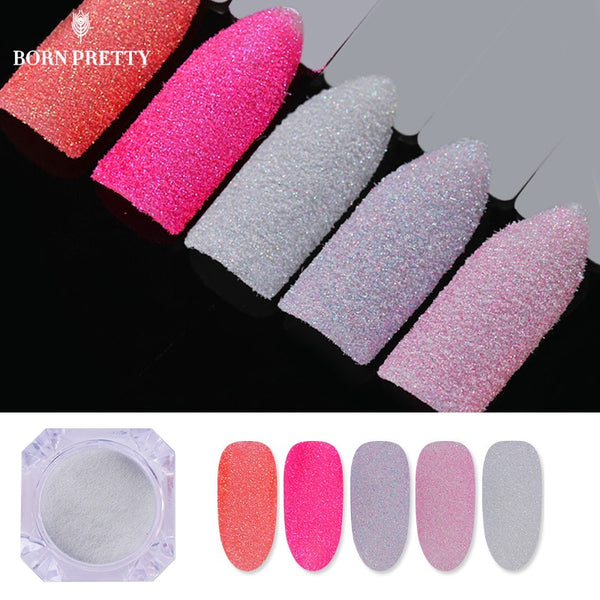 5 Boxes Holographic Nail Sugar Sandy Glitter Powder Set Summer Color Pigment Dust Manicure Nail Art Decoration