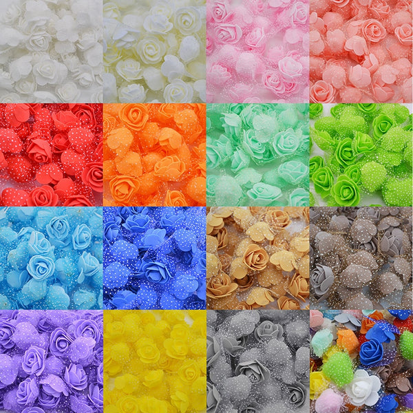 50Pcs/lot 3cm DIY Handmade Foam Flowers 3cm Rose Flower Head Artificial PE Foam Rose Wedding Decoration Scrapbooking Crafts 8Z