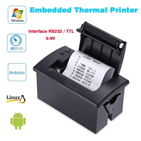 58mm mini thermal parallel POS Receipt printer Embedded Tickets Printer interface RS232 / TTL use with 5v-9v for arduino android