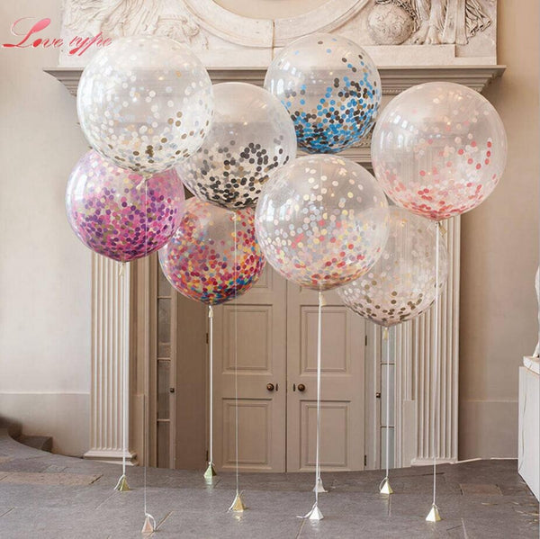 5Pcs 12inch Confetti Latex Balloon Balloon Romantic Wedding Decoration Gold Foam Clear Confetti Balloons Birthday Party Supplies
