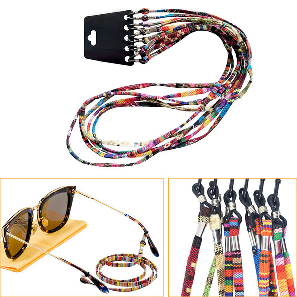 5Pcs Colorful Cotton Sunglasses Strap Eyeglass Chain Cord Reading Glasses Chain String Holder Neck Cord Eyewear Glasses Necklace