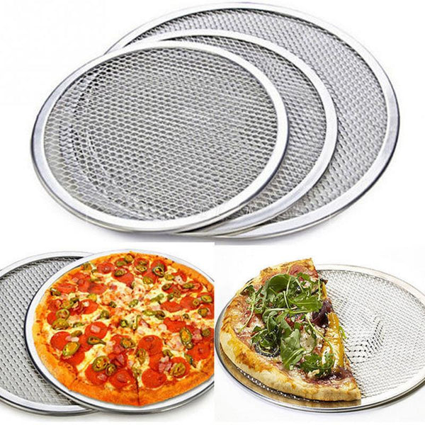 "6""-14"" Reuse Non-Stick Aluminum  Pizza Mesh Screen Pasta Baking Tray Net Pizza Holder Bakeware for Household Pizza Shop"
