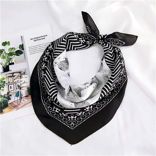 60*60cm Square Silk Hair Tie Band Scarf New Elegant Women Head Skinny Hair Tie Band Small Handkerchief Bandana Scarf