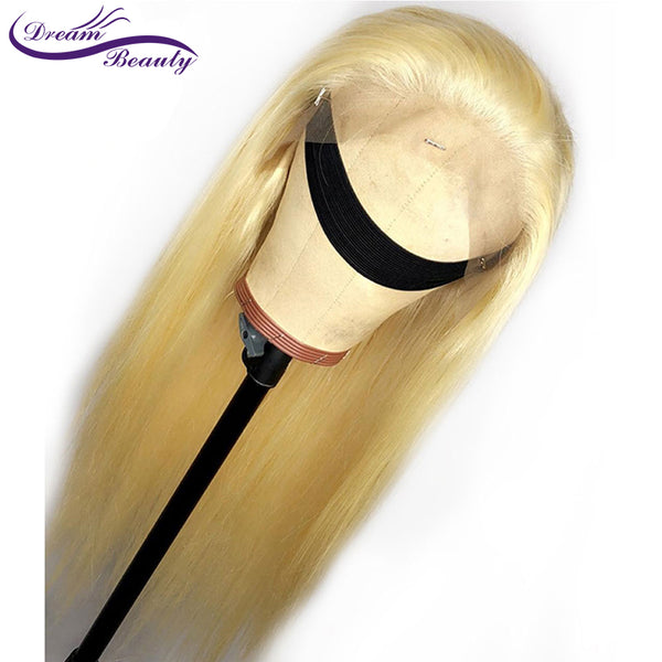 #613 Blonde Wigs 180% Density Silky Straight Brazilian Remy Human Hair lace front Wig 613 Lace Front Human Hair Wig Dream Beauty