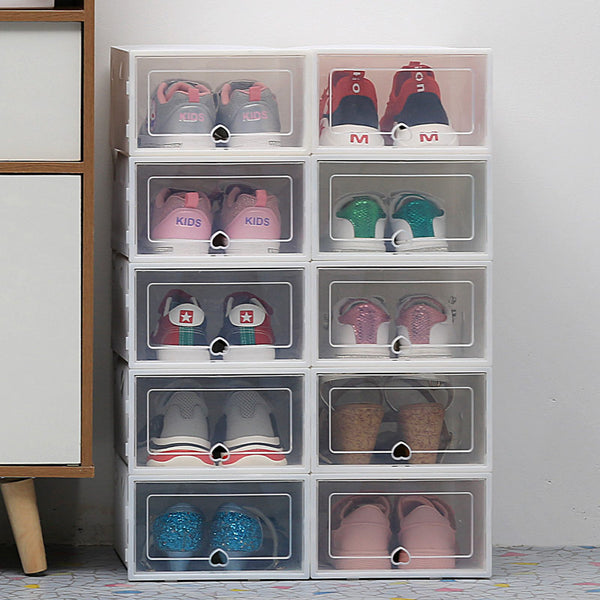6pack Transparent shoe box dustproof storage box can be superimposed combination shoe cabinet Clamshell shoe organizer