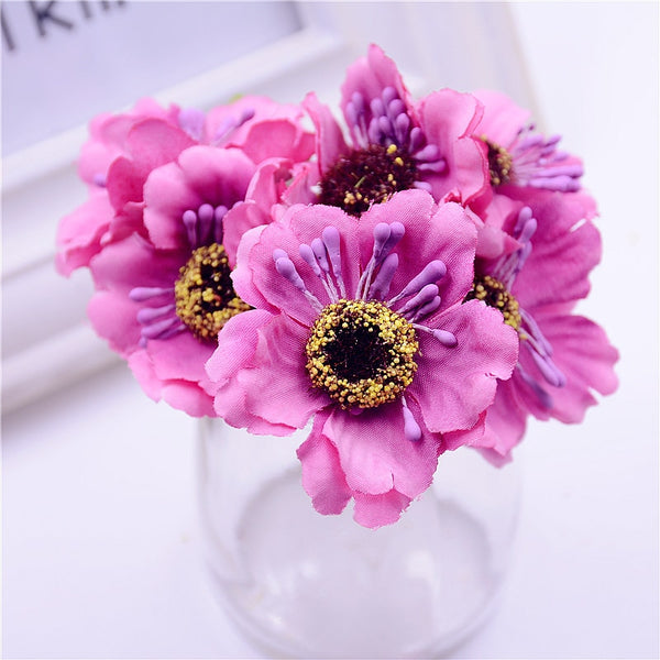 6pcs 3.5cm mini silk cherry artificial poppy bouquet DIY handmade tattoo wreath scrapbook wedding decoration craft fake flower