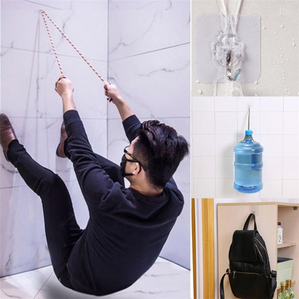 6pcs Strong Transparent Wall Hanger Rack Space Saver Waterproof Flower Adhesive Hooks Heavy Load Sucker Rack sale