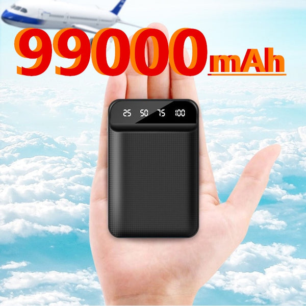 99000mAh Mini Portable Power Bank USB Charger Poverbank Charger External Battery Pack for Samsung Xiaomi Iphone Powerbank