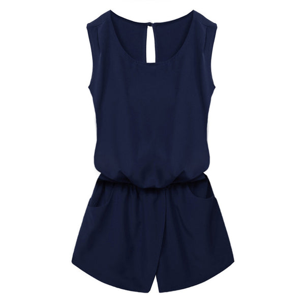 ACEVOG Summer Jumpsuit 2019 Women Playsuit Jumpsuit Casual Sexy Lady Sleeveless Backless Elastic Waist Print Mini Romper overall