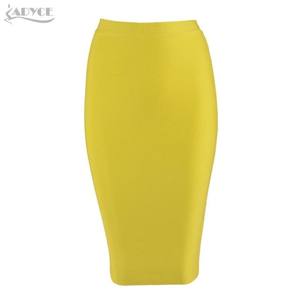 ADYCE New Women Bandage Skirt - Sexy Celebrity Party Skirts Knee-length Khaki Blue Red White Black Nude Bodycon Skirt
