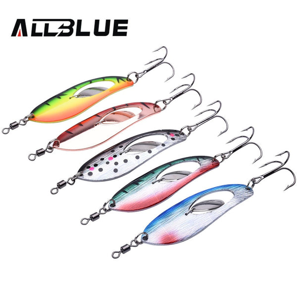 ALLBLUE Metal Fishing Lure 5pcs/lot Spoon Lure Spinner Bait Fishing Tackle Hard Bait Spinner Bait Isca Artificial Peche