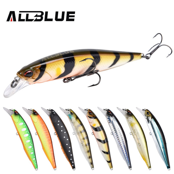 ALLBLUE New JERKBAIT 100SR Professional Fishing Lure 100mm 14.1g Floating Wobbler Minnow 0.8-1.2m Bass Pike Bait MUSTAD Hooks