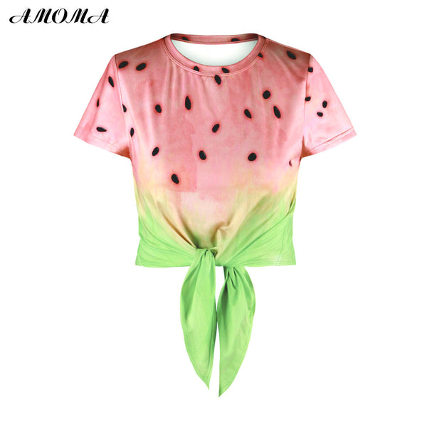 AMOMA Women Midriff-Baring Summer Short Sleeve Tie Front Knot 3d Printed Tops Watermelon