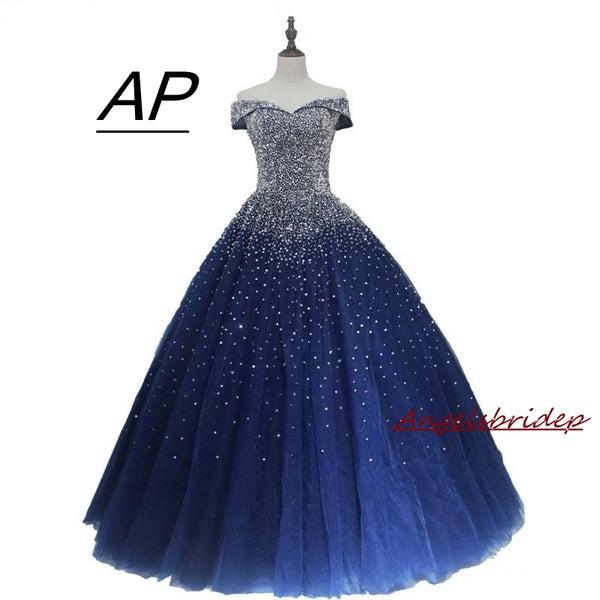ANGELSBRIDEP Quinceanera Dresses  Vestidos De 15 Años Full Crystal Beads Tulle Sweet 16 Ball Gowns Debutante Party Dress