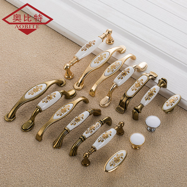 AOBITE European Ceramic Cabinet Handles Wardrobe Handles Cabinet Drawer Pull Knobs Minimalist Small Single Hole Hardware 733