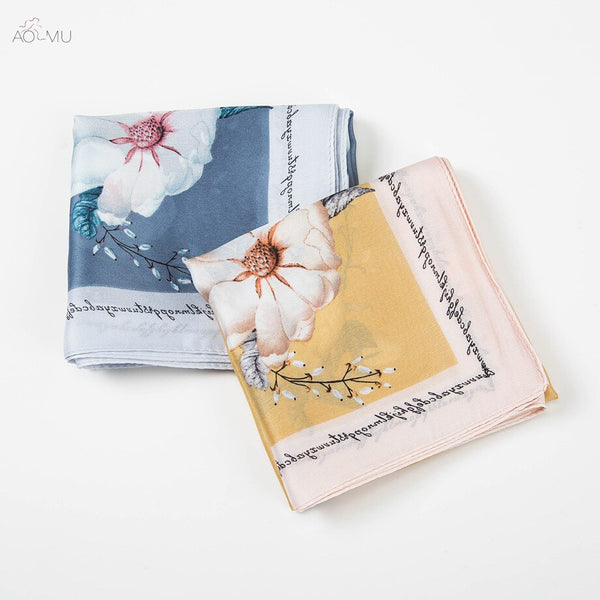 AOMU 53*53cm Small Square Flower Satin Chiffon Printing Scarf Neck Scarf Women's Hair Tie Band Wrap Handkerchief Accessories