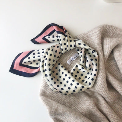 AOMU 70*70cm Women Spring Summer Square Silk Satin Scarf Polka Dots Skinny Head Neck Hair Tie Wrap Handkerchief Accessories