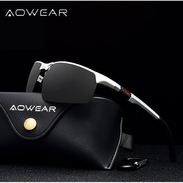 AOWEAR Brand Designer Rimless Sunglasses Men Porlarized Aluminum Magnesium Sports Sun Glasses Male Outdoor Driving Goggles gafas