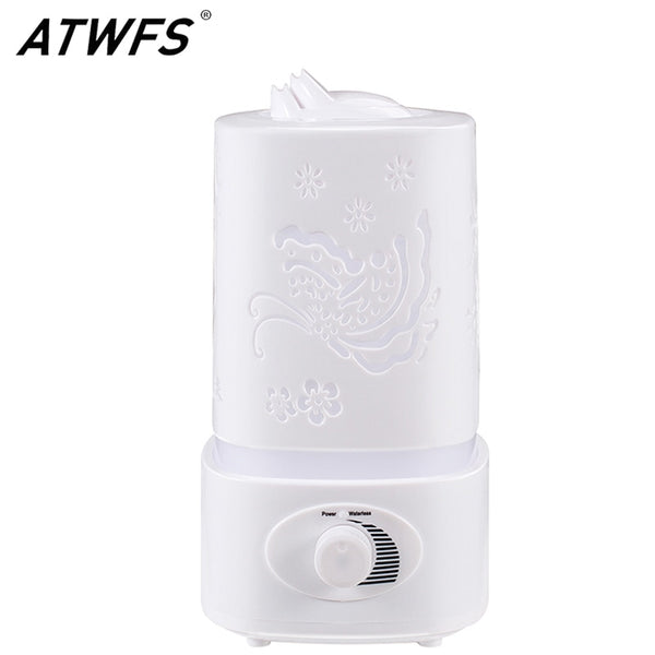 ATWFS Aromatherapy Air Humidifier Fogger LED Night Light Carve Aroma Diffuser Mist Maker Diffuser for Home Office Oil Ultrasonic