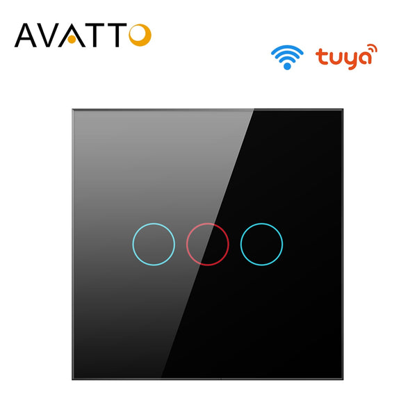 AVATTO Tuya EU Wifi Wall Switch, Smart Light Switch, Glass Panel Touch-Sensor interruptor 1/2/3 Gang Work with Alexa,Google Home