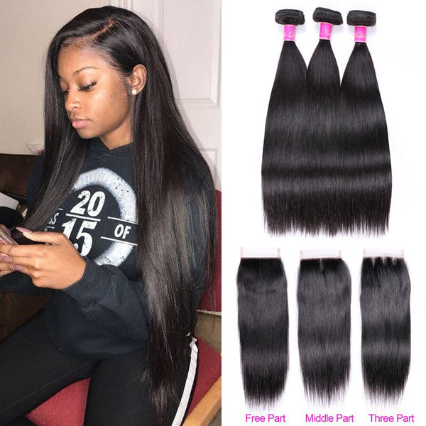 Abijale Straight Hair Bundles With Closure Brazilian Hair Weave Bundles With Closure Human Hair Bundles With Closure Remy