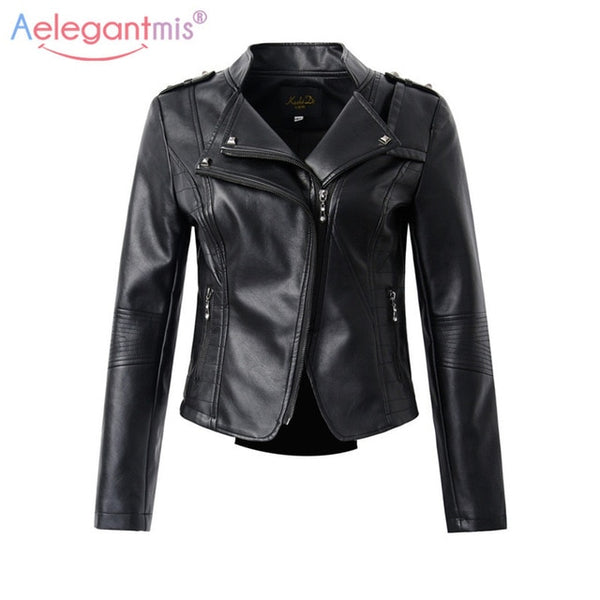 Aelegantmis Casual PU Leather Jacket Women Classic Zipper Short Motorcycle Jackets Lady Autumn Winter Basic Leather Coat Black