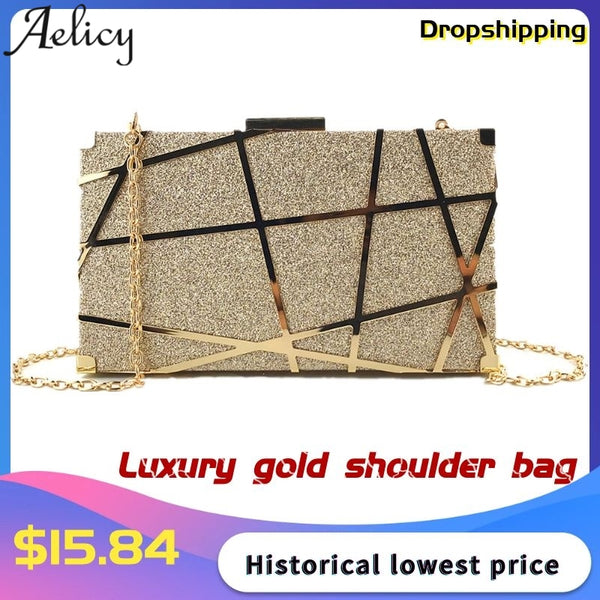 Aelicy Luxury Gold Evening Bag Women Party Banquet Glitter Bag Wedding Clutches Minaudiere Chain Shoulder Bag Bolsas Mujer