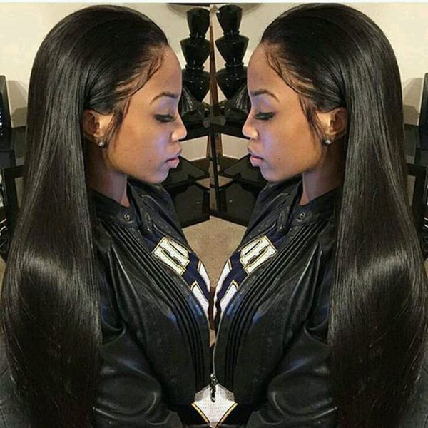 Alicrown Straight Lace Front Human Hair Wigs Free Part Brazilian Hair Wig 13*4 Pre Plucked Natural Hairline Non- Remy 130Density