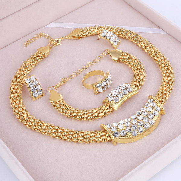 Amazing Price Wedding Gold Jewelry Sets For Women Pendant Statement African Beads Crystal Necklace Earrings Bracelet Rings