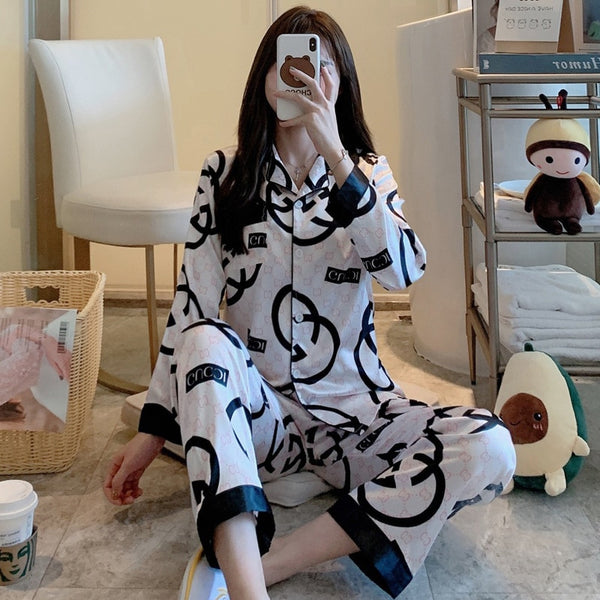 Angel's secret Pajamas women's ice silk pajamas thin casual go out long-sleeved trousers two-piece home service AG41239