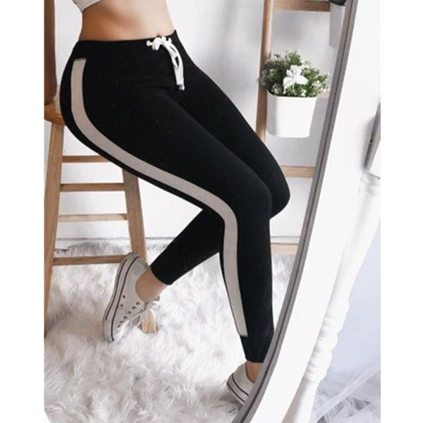 Army Green pink Tape Side Sporty Leggings Women High Waist Drawstring Long Pants - Spring summer Active Workout Leggings