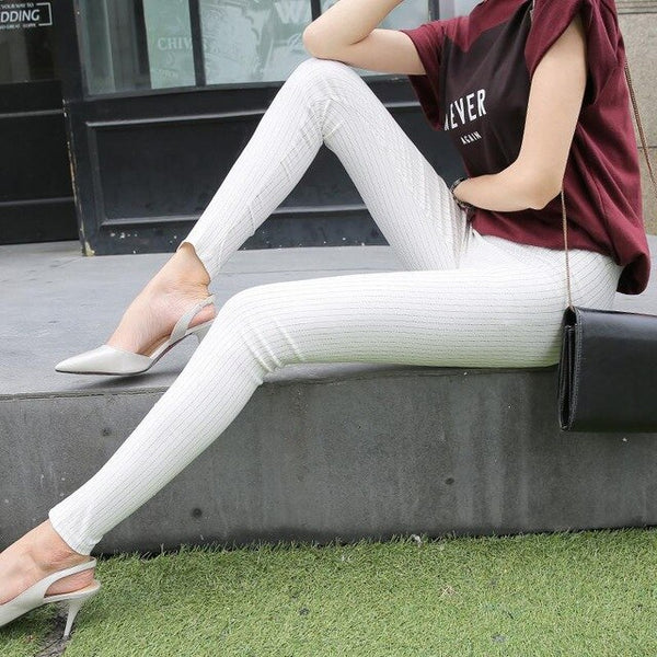 Aselnn Spring&summer New Fashion Women Vertical Striped Pants Female Pencil Ankle-length Pants White Black Pants