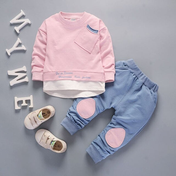 Autumn Children Boys Girls Fashion Clothes Baby Long Sleeve T-shirt Pants 2pcs Suits Kids Clothing Sets Toddler Brand Tracksuits