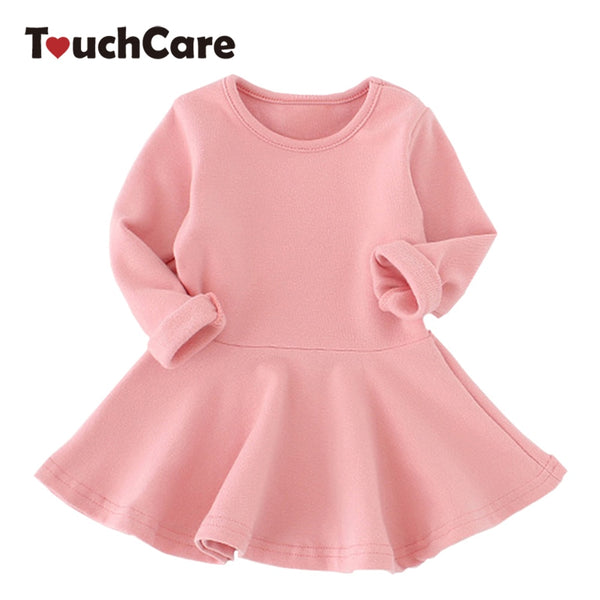 Autumn Girl Dress Baby Girl Dresses Long Sleeve Cotton Solid Princess Dress Bow-knot Birthday Pleated Dresses Newborn Costume