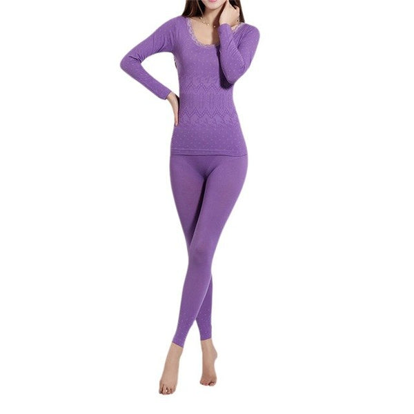 Autumn Winter Women O Neck Lace Nightgown Female Intimate Thermal Underwear Female Long-sleeved Pajamas Suit Underwear New