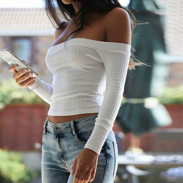 Autumn new 2019 off shoulder crop top t shirts hot sale long sleeve solid short t-shirts for women clothing fashion slim t-shirt